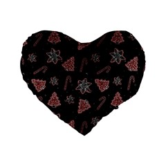 Ginger Cookies Christmas Pattern Standard 16  Premium Flano Heart Shape Cushions by Valentinaart