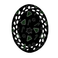 Ginger Cookies Christmas Pattern Oval Filigree Ornament (two Sides) by Valentinaart