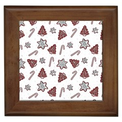 Ginger Cookies Christmas Pattern Framed Tiles by Valentinaart