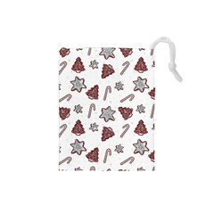 Ginger Cookies Christmas Pattern Drawstring Pouches (small)  by Valentinaart