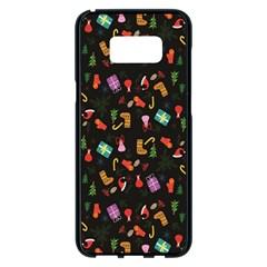 Christmas Pattern Samsung Galaxy S8 Plus Black Seamless Case by Valentinaart