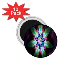 Colorful Fractal Flower Star Green Purple 1 75  Magnets (10 Pack)  by Mariart