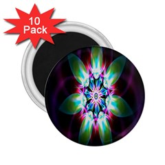 Colorful Fractal Flower Star Green Purple 2 25  Magnets (10 Pack)  by Mariart
