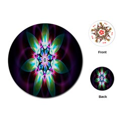 Colorful Fractal Flower Star Green Purple Playing Cards (round)  by Mariart