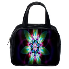 Colorful Fractal Flower Star Green Purple Classic Handbags (one Side) by Mariart