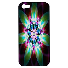 Colorful Fractal Flower Star Green Purple Apple Iphone 5 Hardshell Case by Mariart