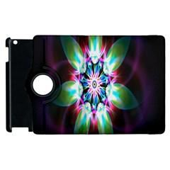 Colorful Fractal Flower Star Green Purple Apple Ipad 2 Flip 360 Case by Mariart
