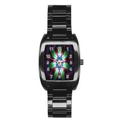 Colorful Fractal Flower Star Green Purple Stainless Steel Barrel Watch by Mariart