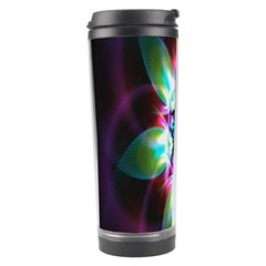 Colorful Fractal Flower Star Green Purple Travel Tumbler by Mariart