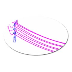 Electricty Power Pole Blue Pink Oval Magnet by Mariart