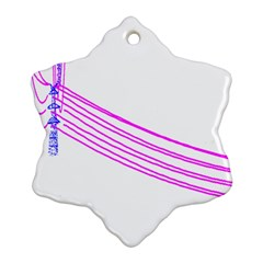 Electricty Power Pole Blue Pink Snowflake Ornament (two Sides) by Mariart