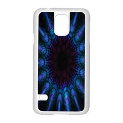 Exploding Flower Tunnel Nature Amazing Beauty Animation Blue Purple Samsung Galaxy S5 Case (white) by Mariart