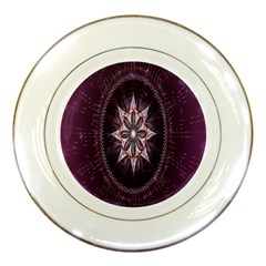 Flower Twirl Star Space Purple Porcelain Plates by Mariart