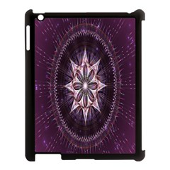 Flower Twirl Star Space Purple Apple Ipad 3/4 Case (black) by Mariart
