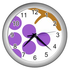 Fruit Grape Purple Wall Clocks (silver)  by Mariart