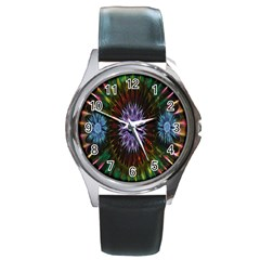 Flower Stigma Colorful Rainbow Animation Gold Space Round Metal Watch by Mariart