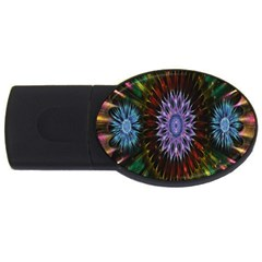 Flower Stigma Colorful Rainbow Animation Gold Space Usb Flash Drive Oval (4 Gb) by Mariart