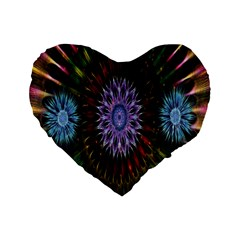Flower Stigma Colorful Rainbow Animation Gold Space Standard 16  Premium Flano Heart Shape Cushions by Mariart