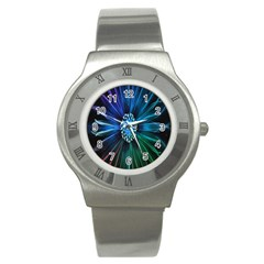 Flower Stigma Colorful Rainbow Animation Space Stainless Steel Watch by Mariart