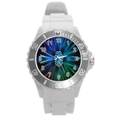 Flower Stigma Colorful Rainbow Animation Space Round Plastic Sport Watch (l) by Mariart