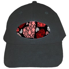 Floral Flower Heart Valentine Black Cap by Mariart