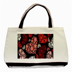 Floral Flower Heart Valentine Basic Tote Bag (two Sides) by Mariart
