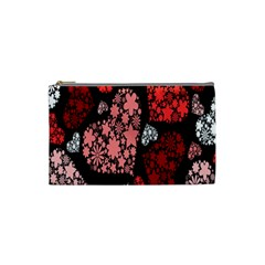 Floral Flower Heart Valentine Cosmetic Bag (small)  by Mariart
