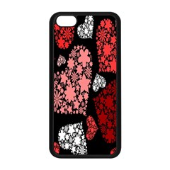 Floral Flower Heart Valentine Apple Iphone 5c Seamless Case (black) by Mariart