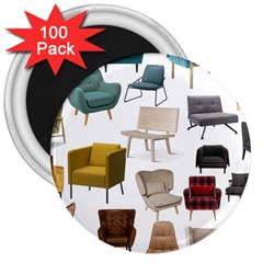 Furnitur Chair 3  Magnets (100 Pack) by Mariart