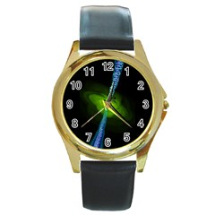 Gas Yellow Falling Into Black Hole Round Gold Metal Watch by Mariart