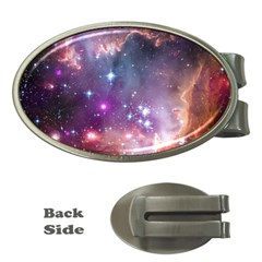 Galaxy Space Star Light Purple Money Clips (oval)  by Mariart