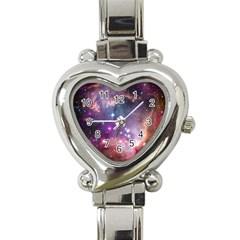 Galaxy Space Star Light Purple Heart Italian Charm Watch by Mariart