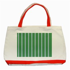 Green Line Vertical Classic Tote Bag (red) by Mariart