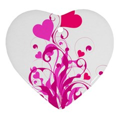 Heart Flourish Pink Valentine Ornament (heart) by Mariart