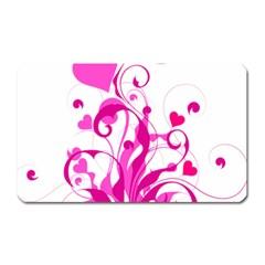 Heart Flourish Pink Valentine Magnet (rectangular)