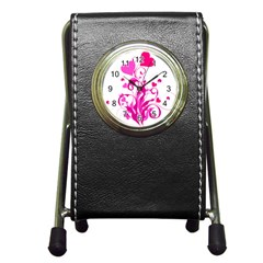 Heart Flourish Pink Valentine Pen Holder Desk Clocks by Mariart
