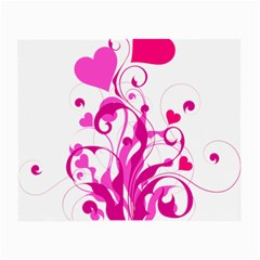 Heart Flourish Pink Valentine Small Glasses Cloth (2 Side) by Mariart