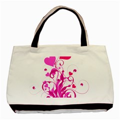 Heart Flourish Pink Valentine Basic Tote Bag (two Sides) by Mariart