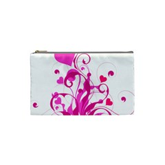 Heart Flourish Pink Valentine Cosmetic Bag (small)  by Mariart