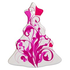 Heart Flourish Pink Valentine Christmas Tree Ornament (two Sides) by Mariart