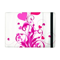 Heart Flourish Pink Valentine Apple Ipad Mini Flip Case by Mariart