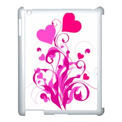 Heart Flourish Pink Valentine Apple Ipad 3/4 Case (white) by Mariart
