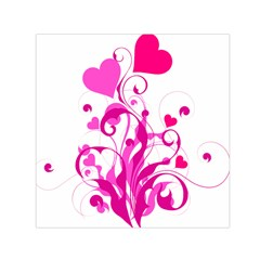 Heart Flourish Pink Valentine Small Satin Scarf (square)