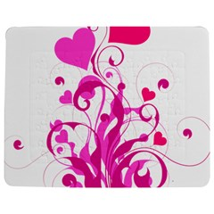 Heart Flourish Pink Valentine Jigsaw Puzzle Photo Stand (rectangular) by Mariart
