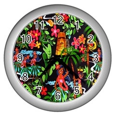 Hawaiian Girls Black Flower Floral Summer Wall Clocks (silver)  by Mariart