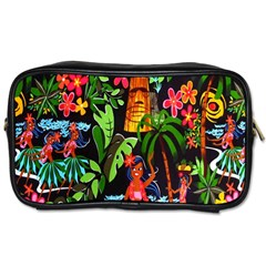 Hawaiian Girls Black Flower Floral Summer Toiletries Bags 2 Side by Mariart