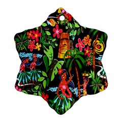 Hawaiian Girls Black Flower Floral Summer Snowflake Ornament (two Sides)