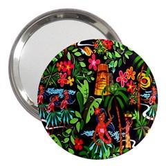 Hawaiian Girls Black Flower Floral Summer 3  Handbag Mirrors by Mariart