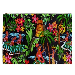 Hawaiian Girls Black Flower Floral Summer Cosmetic Bag (xxl)  by Mariart