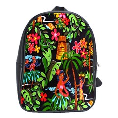 Hawaiian Girls Black Flower Floral Summer School Bag (xl) by Mariart